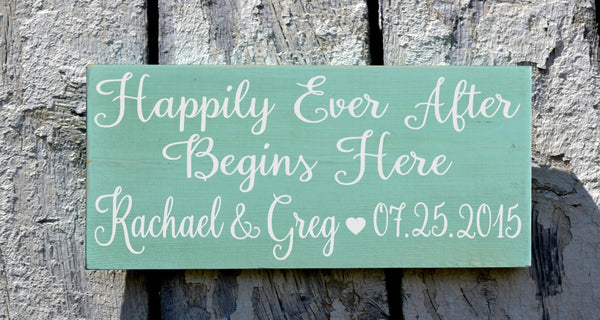 Wedding Sign Happily Ever After Begins Here Personalized Gift Rustic Teal Mint Wedding Decor Directional Wood Plaque Custom Anniversary Sign - The Sign Shoppe - 1