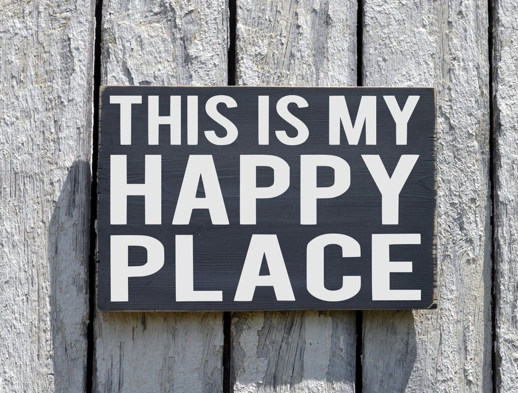 Happy Place Sign Is My Our Happy Place Wood Plaque Lake Beach River Farm Cabin Camp Summer Favorite Places House Decor Outdoor Location Gift - The Sign Shoppe