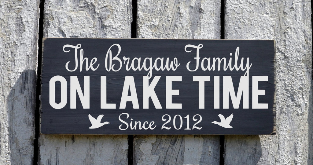 Lake House Decor, Personalized Lake Sign, On Lake Time Custom Family Last Name Wood Plaque, Lakeside Wall Art Cabin Cottage New Home Gift - The Sign Shoppe
