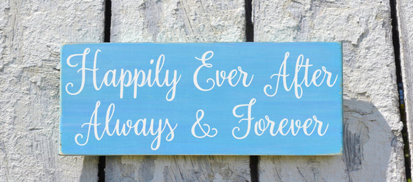 Wedding Sign, Rustic Wedding Decor Signage Happily Ever After Always And Forever Couple Gift Ideas Anniversary Blue Custom Plaque Teal Coral - The Sign Shoppe - 1