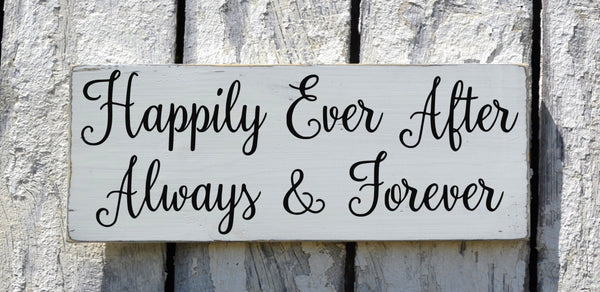 Wedding Sign, Rustic Wedding Decor Signage Happily Ever After Always And Forever Couple Gift Ideas Anniversary Blue Custom Plaque Teal Coral - The Sign Shoppe - 2