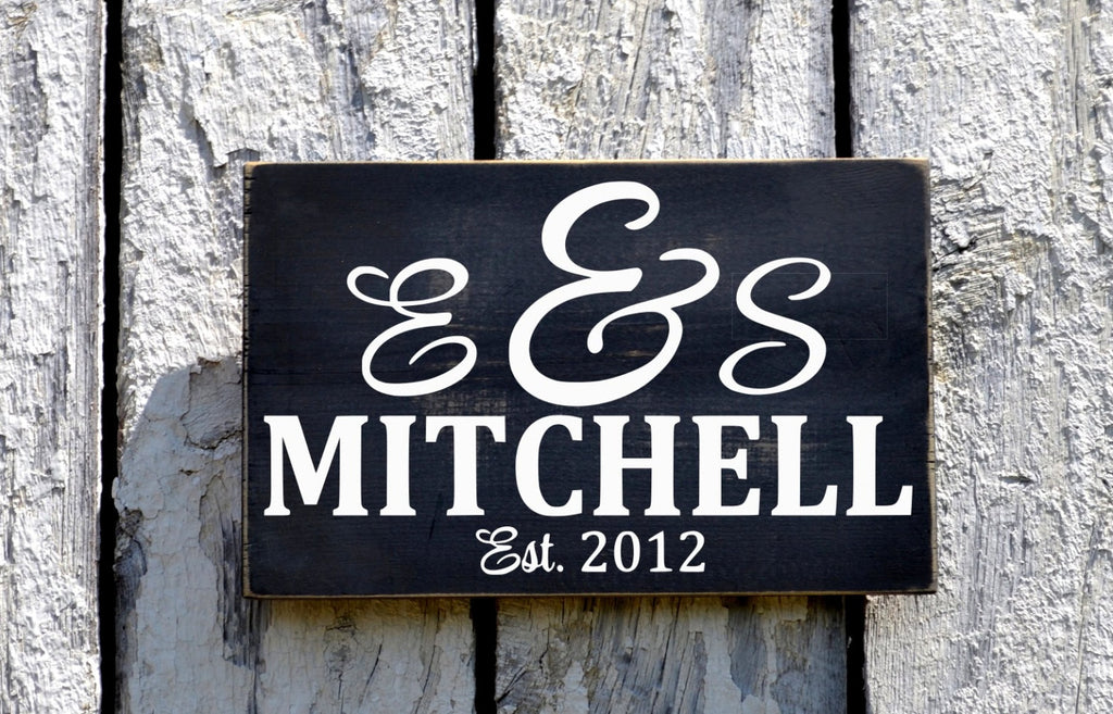 Personalized Name Signs Outdoor House Plaque Wedding Gift Housewarming New Home Wall Art Established Date Sign Monogram Letters - The Sign Shoppe