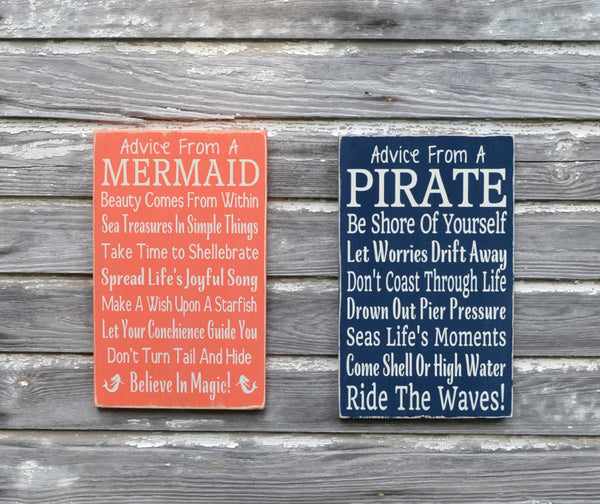 Nautical Nursery Sign Kids Pirate Room Decor Beach Bedroom Wall Art Coastal Gift Advice Pirate Ocean Plaque Children Boys Girls Bathroom - The Sign Shoppe - 2