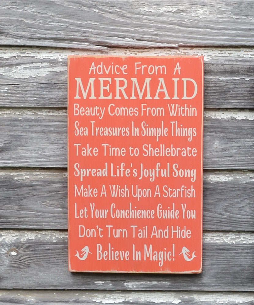 LARGE Advice From A Mermaid Sign, Mermaid Decor, Beach Signage, Custom Wooden Plaque Girls Wall Art Coastal Nautical Ocean Kids Room Nursery - The Sign Shoppe - 1