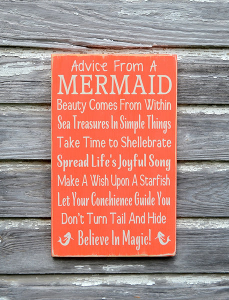 LARGE Advice From A Mermaid Sign, Mermaid Decor, Beach Signage, Custom Wooden Plaque Girls Wall Art Coastal Nautical Ocean Kids Room Nursery - The Sign Shoppe - 2