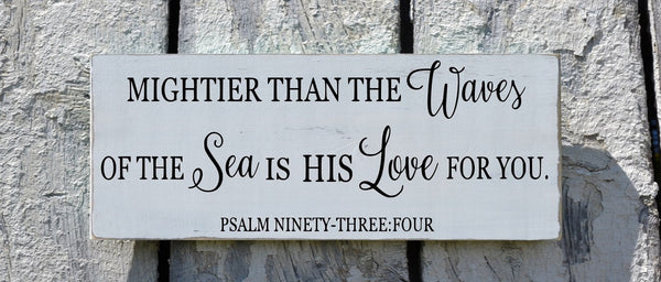 Nautical Nursery Wall Decor - Nautical Sign Baby Gift - Childrens Room Art - Beach Baby - Psalm 934 Mightier Than The Waves Scripture Verse - The Sign Shoppe - 3