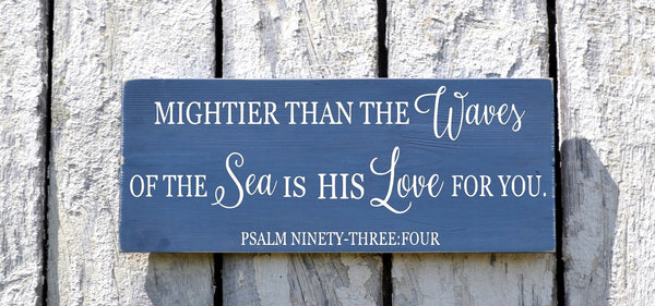 Nautical Nursery Wall Decor - Nautical Sign Baby Gift - Childrens Room Art - Beach Baby - Psalm 934 Mightier Than The Waves Scripture Verse - The Sign Shoppe - 2