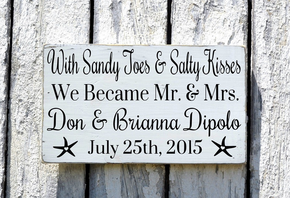 Personalized Beach Wedding Sign 18x12 Nautical Anniversary Gift Custom Signs Sandy Toes Salty Kisses Mr Mrs couples Present Decor Plaque - The Sign Shoppe