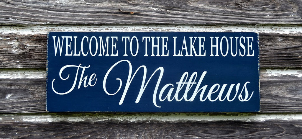 Welcome To The Lake Sign Lakeside House Decor Personalized Family