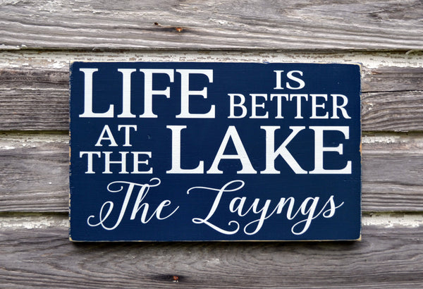 Lake House Decor, Personalized Lake Sign, Life Is Better At The Lake Family Last Name Wood Plaque, Lakeside Living River Cabin Cottage Gift - The Sign Shoppe - 2