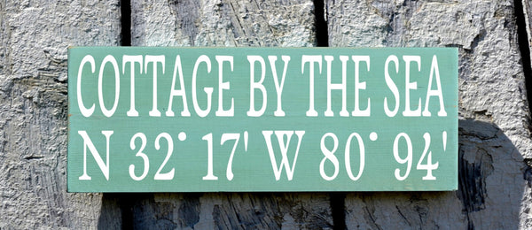 Beach House Decor, Personalized Beach Sign Custom Latitude Longitude GPS Map Location Wood Plaque Cottage By Sea Lake River Wall Art Gift - The Sign Shoppe - 1