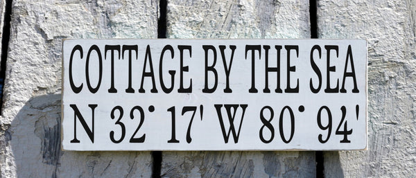 Beach House Decor, Personalized Beach Sign Custom Latitude Longitude GPS Map Location Wood Plaque Cottage By Sea Lake River Wall Art Gift - The Sign Shoppe - 2