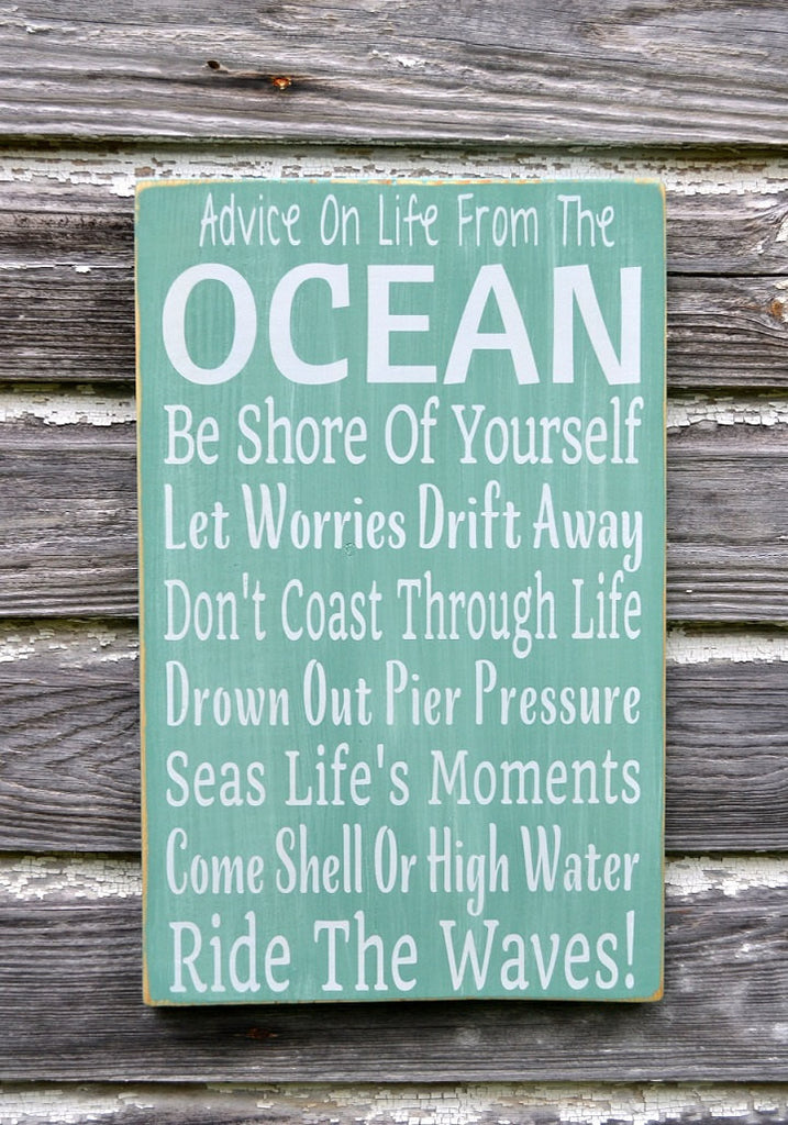 Rustic Beach Sign, Beach House Decor, Weathered Nautical Teal Green Plaque Rules Wisdom Life Advice Ocean Signs Coastal Summer Gift Wall Art - The Sign Shoppe - 1