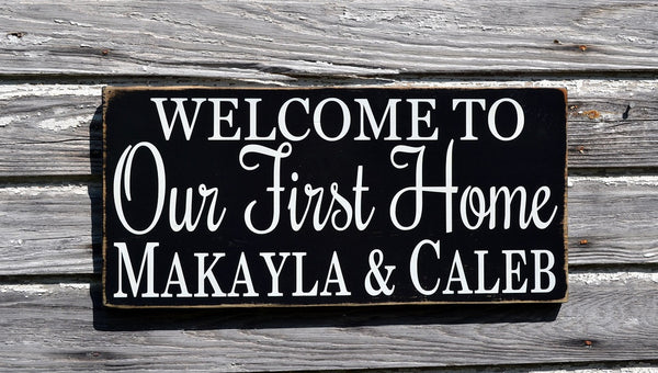 Personalized Welcome To Our First Home Sign Couples Wedding Gift Housewarming Family Name Date Welcome To Plaque Outdoor New House Wall Art - The Sign Shoppe - 2