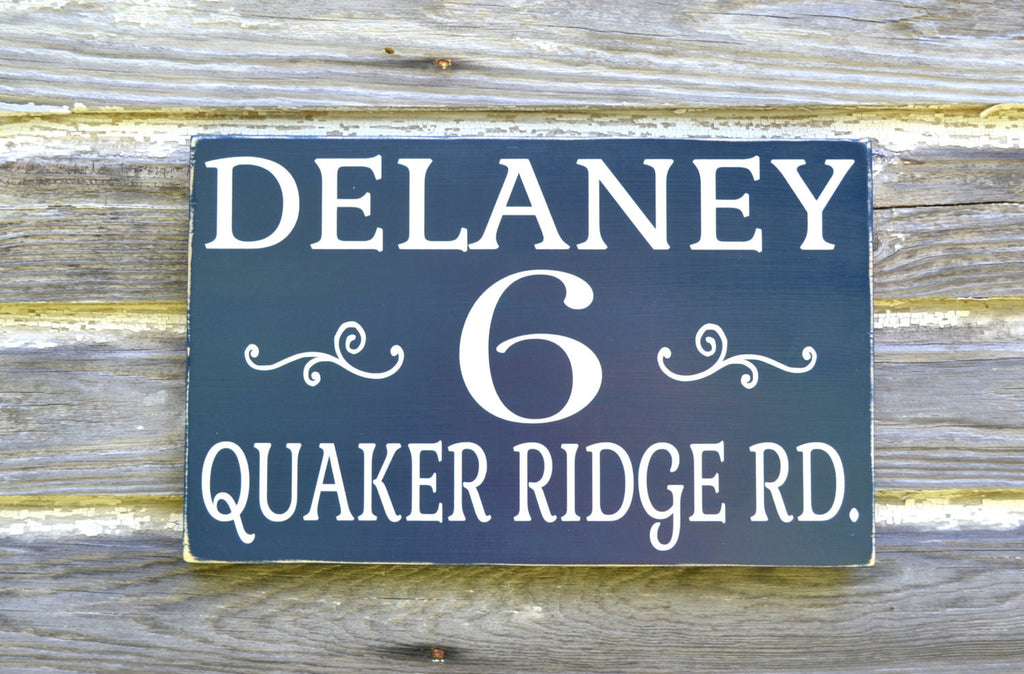 Personalized Name Address Plaque Custom House Numbers Sign Painted Outdoor Wood Home Number Signage Hanging Yard Stake Post Fence Signs - The Sign Shoppe