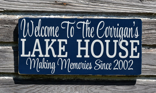 Lake House Decor, Personalized Lake Signs Custom Welcome To The Lakeside House Name Plaque Established Date Gift Home Hostess Wall Art - The Sign Shoppe - 1