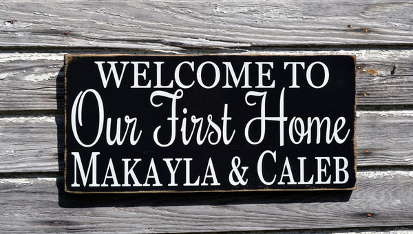 Personalized Welcome To Our First Home Sign Couples Wedding Gift Housewarming Family Name Date Welcome To Plaque Outdoor New House Wall Art - The Sign Shoppe - 1
