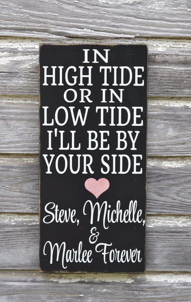 In High Tide Sign Personalized Beach Wedding Sign Nautical Decor Anchor Custom Wood Plaque Wedding Shower Couples Gift Anniversary Christmas - The Sign Shoppe - 5