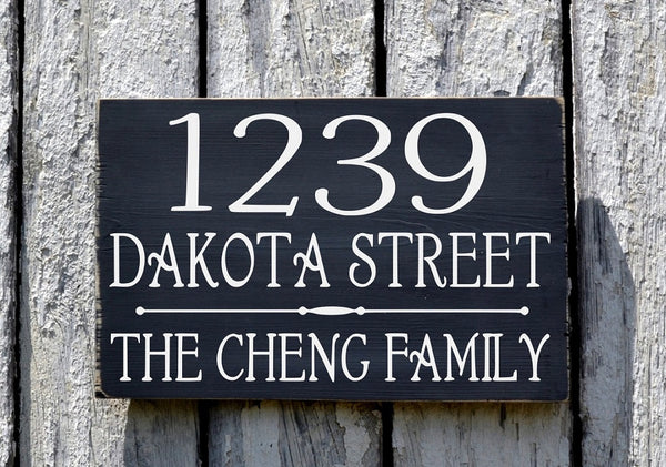 Address Sign With Personalized Family Name - The Sign Shoppe - 2