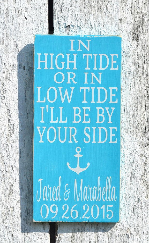 In High Tide Sign Personalized Beach Wedding Sign Nautical Decor Anchor Custom Wood Plaque Wedding Shower Couples Gift Anniversary Christmas - The Sign Shoppe - 1