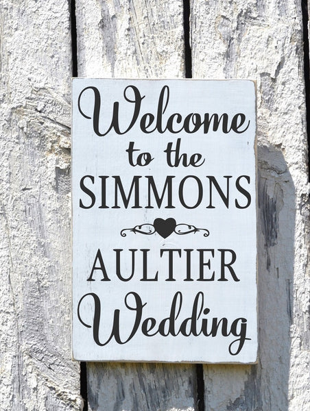Welcome Wedding Sign CUSTOM COLORS Personalized Directional Personalized 18x12  Last Names Decor Ceremony Wood Table Plaque Easel Aisle - The Sign Shoppe - 2