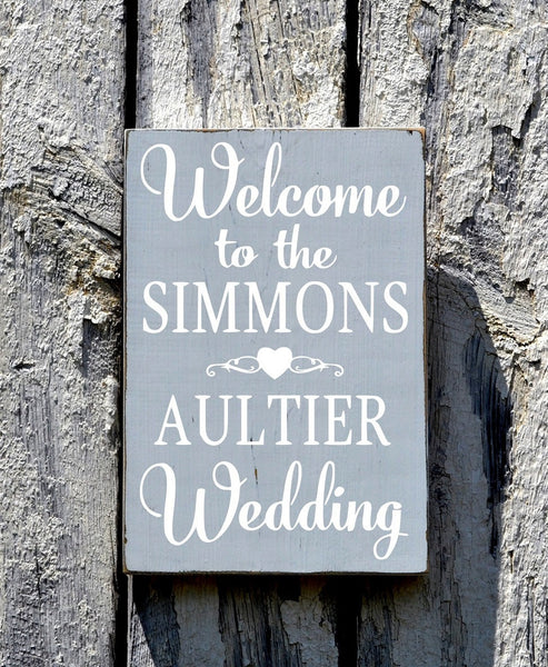 Welcome Wedding Sign CUSTOM COLORS Personalized Directional Personalized 18x12  Last Names Decor Ceremony Wood Table Plaque Easel Aisle - The Sign Shoppe - 1