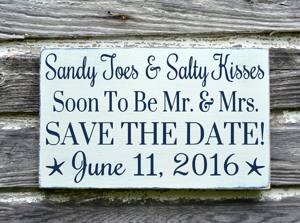 Beach Wedding Sign Personalized - Save The Date Sandy Toes Salty Kisses - Plaque - The Sign Shoppe
