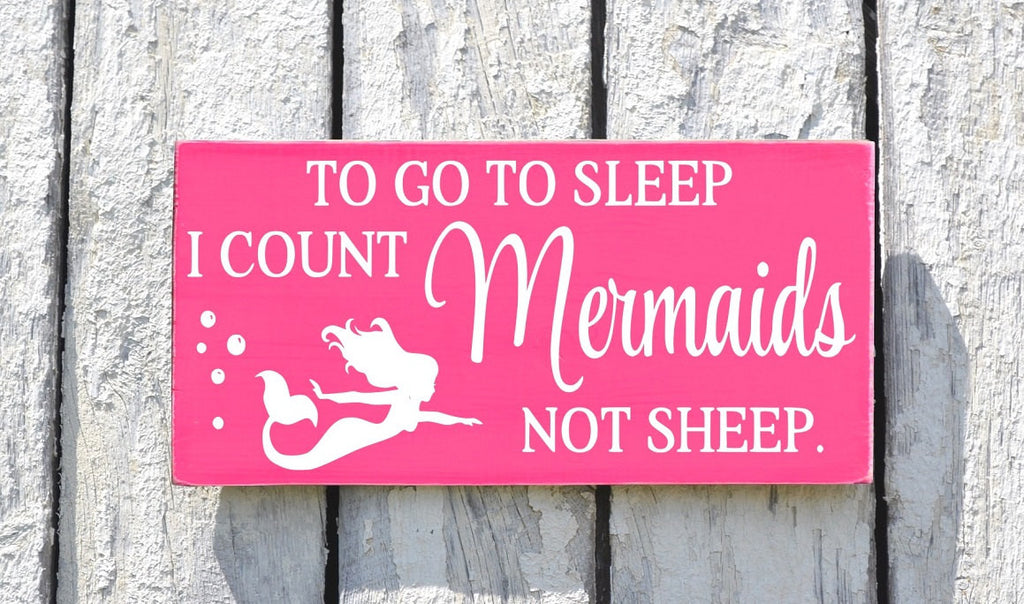 Mermaid Decor Nautical Nursery Sign Beach Girls Baby Wall Art Mermaids Gift Ideas Girl Kids Room Pink Plaque To Go To Sleep I Count Quote - The Sign Shoppe - 1
