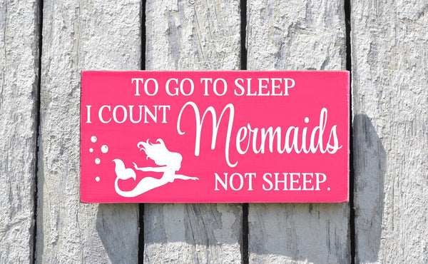 Mermaid Decor Nautical Nursery Sign Beach Girls Baby Wall Art Mermaids Gift Ideas Girl Kids Room Pink Plaque To Go To Sleep I Count Quote - The Sign Shoppe - 2