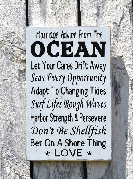 Beach Wedding - Beach Decor - Beach Sign - Coastal Theme Decor - Beach Saying - Wisdom Advice Ocean Love Sign - Nautical Rustic Plaque - The Sign Shoppe - 3