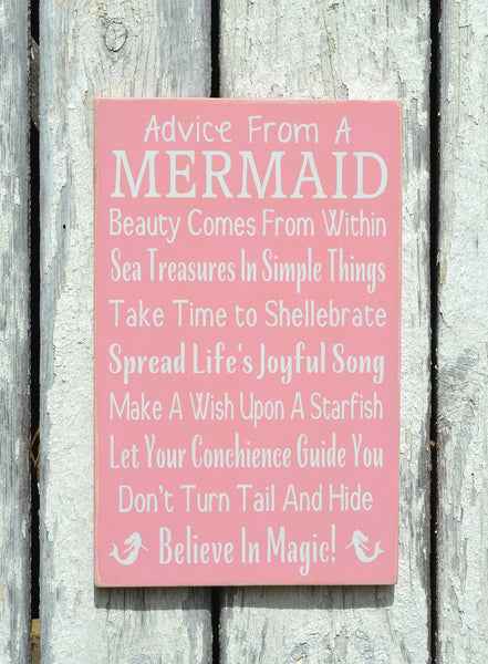 Mermaid Decor, Beach Signs, Hand Painted Wooden Plaque Custom Colors, Girls Teens Wall Art Coastal Nautical Advice From A Mermaid Ocean Gift - The Sign Shoppe - 1