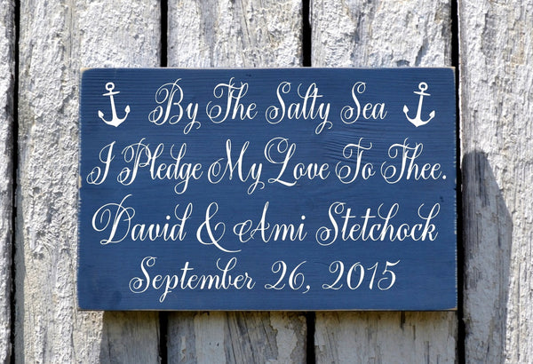 Rustic Wedding Sign Beach Wedding Plaque Personalized Gift 18x12 Custom Color Photo Prop Table Signage Nautical Anchor Wedding Decor Coastal - The Sign Shoppe - 3