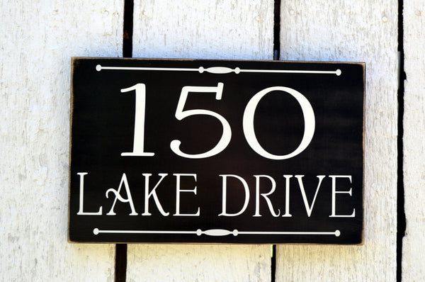 Lake House Sign - Address Plaque Custom House Numbers Sign - Outdoor Decor Beach Home River Cottage Personalized Home Number Yard Lawn Signs - The Sign Shoppe - 1