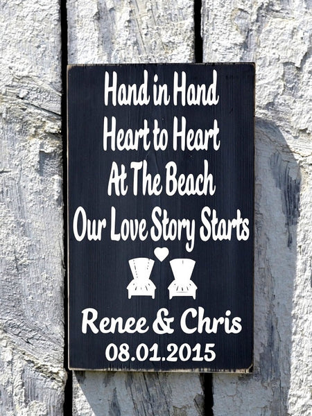 Hand In Hand Heart to Heart At Beach Our Adventure Love Story Starts - The Sign Shoppe - 2