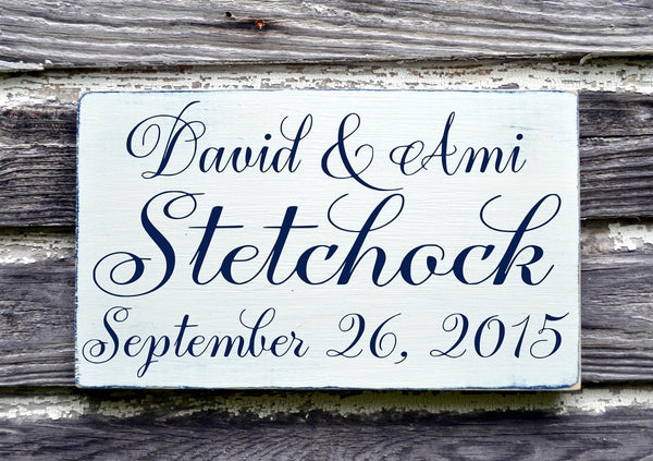 CUSTOM Name Sign Personalized Wedding Signs 18x12 Anniversary Gift Gray First Home House Ideas Established Vintage Modern Country Weddings - The Sign Shoppe - 2