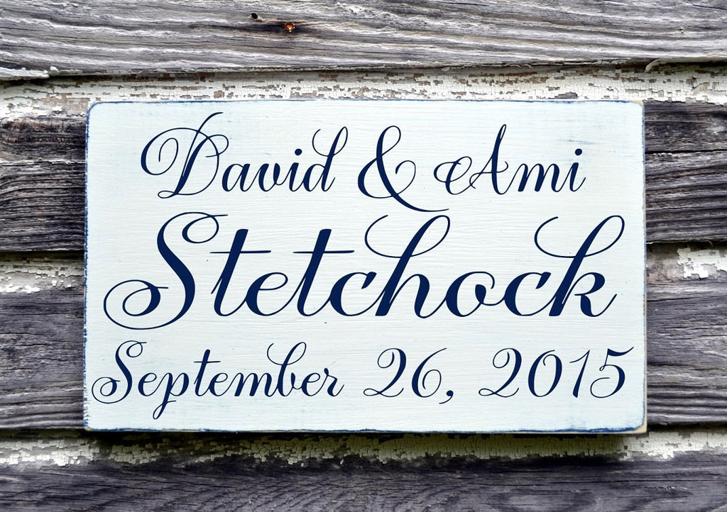 PERSONALIZED Custom Wedding Sign Bride Groom Names 18x12 Couples Gift Made To Order Fall Autumn Winter Weddings Anniversary Ring Bearer - The Sign Shoppe