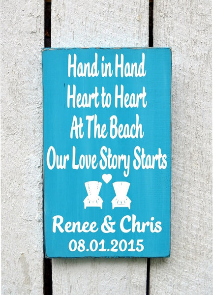 Hand In Hand Heart to Heart At Beach Our Adventure Love Story Starts - The Sign Shoppe - 1