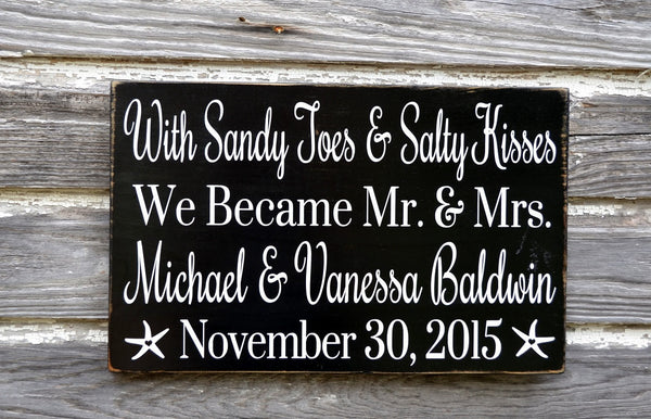 Sandy Toes And Salty Kisses Beach Wedding Sign Mr and Mrs Personalized Wedding Gift Gray Nautical Weddings Decorations Signage Anniversary - The Sign Shoppe - 3