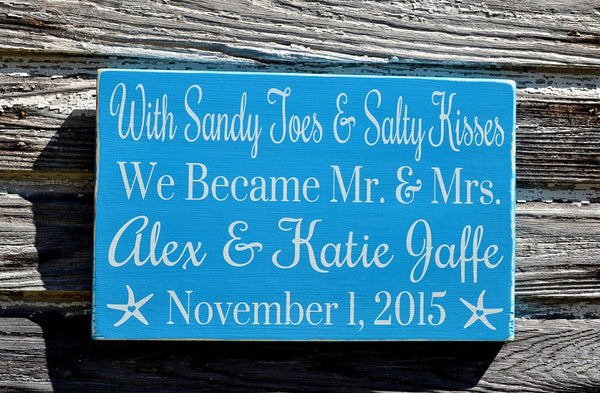 Sandy Toes And Salty Kisses Beach Wedding Sign Mr and Mrs Personalized Wedding Gift Gray Nautical Weddings Decorations Signage Anniversary - The Sign Shoppe - 4