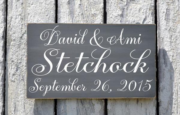 CUSTOM Name Sign Personalized Wedding Signs 18x12 Anniversary Gift Gray First Home House Ideas Established Vintage Modern Country Weddings - The Sign Shoppe - 1