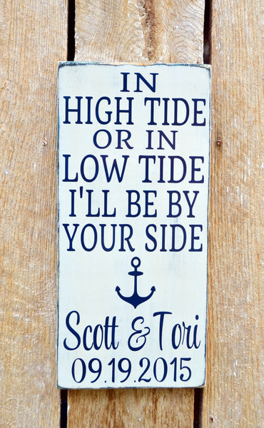 Nautical Wedding Sign - LARGE In High Tide or Low Tide - Beach Decor - 24x12 - Anchor Wall Art - Personalized Gift Seaside Cottage Ocean - The Sign Shoppe - 1