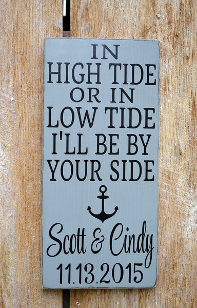 Nautical Wedding Sign - LARGE In High Tide or Low Tide - Beach Decor - 24x12 - Anchor Wall Art - Personalized Gift Seaside Cottage Ocean - The Sign Shoppe - 2
