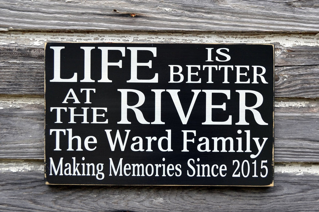 River Signs Personalized Cabin Cottage Decor 18x12 Custom Established Date Housewarming Christmas Gift Ideas New Home Family Name Plaques - The Sign Shoppe