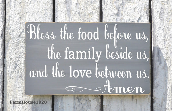 Kitchen Decor Bless The Food Before Us Sign Hand Painted Kitchen Wall Art Dining Room Decor Rustic Wood Plaque Blessings Thanksgiving Signs - The Sign Shoppe - 3