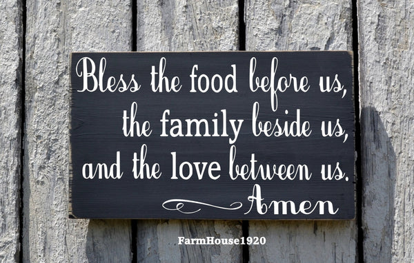 Kitchen Decor Bless The Food Before Us Sign Hand Painted Kitchen Wall Art Dining Room Decor Rustic Wood Plaque Blessings Thanksgiving Signs - The Sign Shoppe - 1