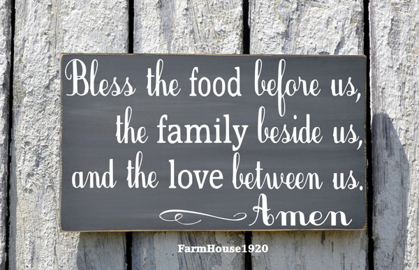 Kitchen Decor Bless The Food Before Us Sign Hand Painted Kitchen Wall Art Dining Room Decor Rustic Wood Plaque Blessings Thanksgiving Signs - The Sign Shoppe - 2