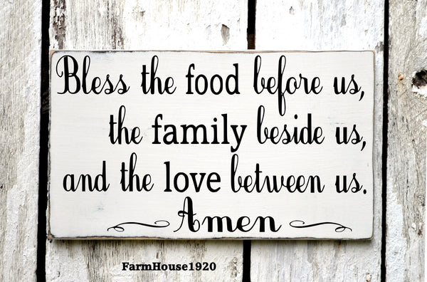 Kitchen Decor Bless The Food Before Us Sign Hand Painted Kitchen Wall Art Dining Room Decor Rustic Wood Plaque Blessings Thanksgiving Signs - The Sign Shoppe - 4