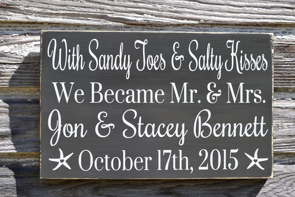 Sandy Toes And Salty Kisses Beach Wedding Sign Mr and Mrs Personalized Wedding Gift Gray Nautical Weddings Decorations Signage Anniversary - The Sign Shoppe - 1