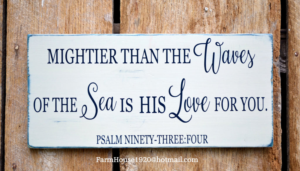 Nautical Nursery Wall Decor - Nautical Sign Baby Gift - Childrens Room Art - Beach Baby - Psalm 934 Mightier Than The Waves Scripture Verse - The Sign Shoppe - 1