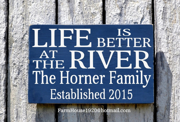 River House Decor, Personalized River Sign, Beach House Plaque, Mountains, Camp, Cabin Lodge Signs, Family Name Plaque Life Is Better Saying - The Sign Shoppe - 1